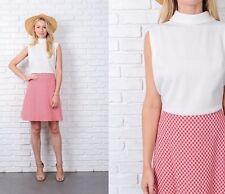 Vintage 70s White + Red Mod Dress Plaid Color Block Gingham Mini Medium M