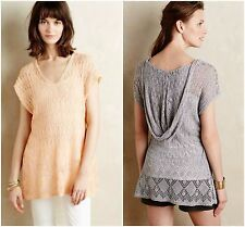 NWT ANTHROPOLOGIE Moth Mango Hooded Pointelle Pullover Sz S 4 Sweater Top Tunic