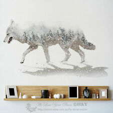 Snow Wolf Wall Art Stickers Animal Vinyl Decal Removable Home Kids Fashion Decor
