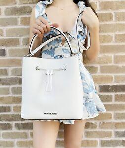Michael Kors Suri Large Bucket Bag Messenger Saffiano Leather Optic White