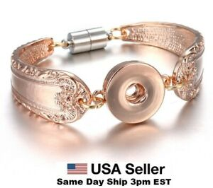 Snap Jewelry Rose Gold Spoon Magnetic Bracelet Fits 18-20mm Ginger Style Charms