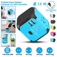 AU/UK/US/EU Universal Travel AC Power Charger Adapter Plug Converter Dual USB