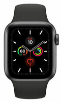 Apple Watch Series 5 MWWQ2LL/A GPS & Cellular 40mm Black Sport Smartwatch NEW