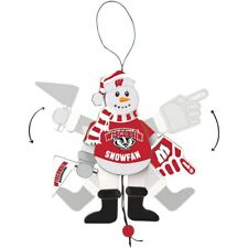 Wisconsin Badgers Christmas Ornament Cheering Snowman Arms & Legs Move Brand New