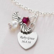 Ladies Angel Necklace With Birthstone & Engraved Heart. Jewellery with Engraving