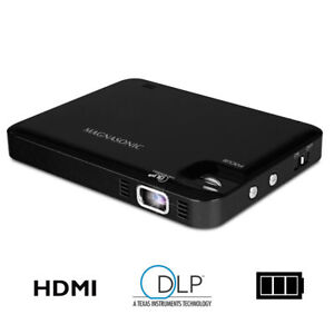 "Magnasonic LED Pocket Pico Video Projector, HDMI, Battery, Speaker, 60"" Image"