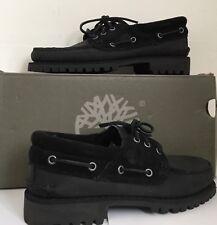Timberland Premium Classic Black Leather Suede Lug Boat Shoes Sz 11 Bnib A18Kl