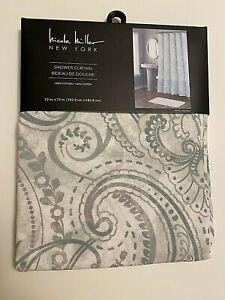 "NEW Nicole Miller New York Fabric Shower Curtain Green Gray 72 x 72"" Cotton"