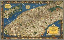 VINTAGE MAP OF MANHATTEN HUGE ART PRINT POSTER LLFGZ0014