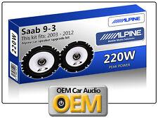"Saab 9-3 Front Door speakers Alpine 6.5"" 17cm car speaker kit 220W Max Power"