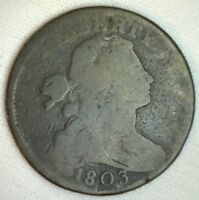 1803 Draped Bust Copper Large Cent Early Penny Type Coin S261 Variety Good 1c