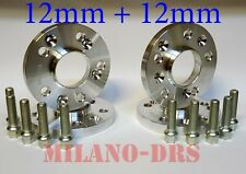 4 DISTANZIALI RUOTA 12+12mm VW GOLF MK4 IV Bullone SFERICO+KIT ANTIFURTO