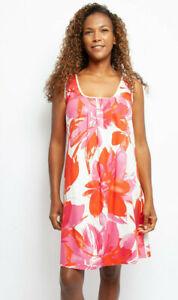 Ladies Womens Pink & Orange Floral Summer Nightdress - SIZE 8 10