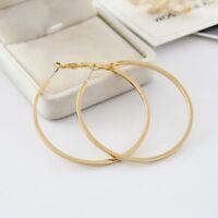 6cm Fashion 18K Yellow Gold Plated GP Around Hoop Earring Studs Drop Dangle