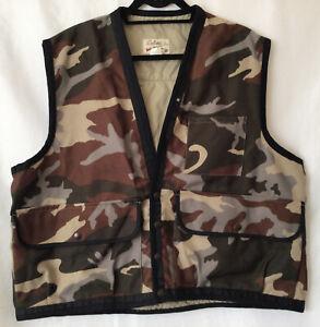 Cabelas Sidney Nebr Vintage Camo Hunting Vest Fishing Camouflage USA Sz Large