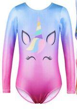 UK Girls Leotards Shiny Rainbow Gymnastics Leotards Ballet Unicorn Leotard 9-10y