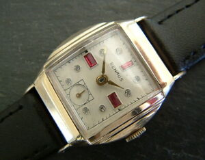 Vintage Art Deco 1940's RGPl Tonneau BENRUS Watch-Ruby and Diamond Dial Serviced