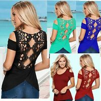 Women's Summer Backless Off Shoulder Short Sleeves T-shirt Tops Blouse Plus Size