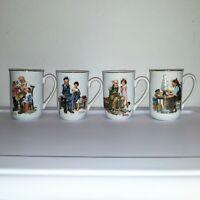 Vintage Norman Rockwell Museum Porcelain Coffee Tea Cups Mugs 1982 Set of 4