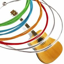1 SET 6 Rainbow Multi Color Acoustic Guitar Strings Stainless Steel Alloy