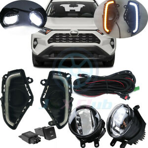 For Toyota RAV4 2019-2021 LED DRL Lamps OEM LED Fog Lights w/ Harness Switch Kit