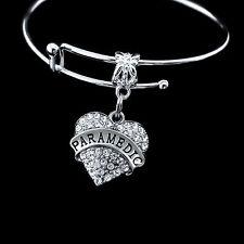 Paramedic Bracelet  crystal heart charm  EMT bracelet  best jewelry gift EMT