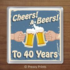 40th Birthday Retro 'Cheers & Beers' Drinks Coaster Beer Mat Gift Present