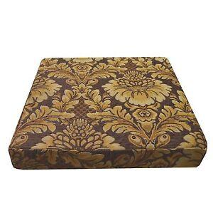 we57t Gold Brown Damask Flower Chenille 3D Box Shape Sofa Seat Cushion Cover*Siz