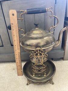 """Vtg Brass Samovar Tea Kettle with Stand and Burner 15"""" Ornate"""