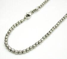 "3.20 Grams 2mm 8"" Ladies 14k White Real Gold Diamond Cut Bead Ball Bracelet"