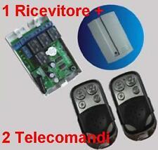 Ricevitore radio 4 Rele + 2 Trasmettitori A 433MHz telecomando cancelli serrande