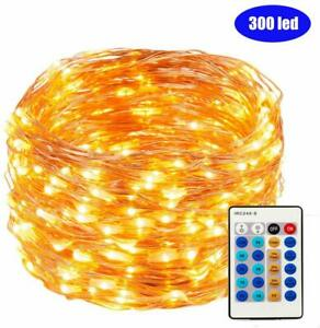 Copper Wire Lights,30M 300 LEDs Fairy Lights Waterproof Dimmable with Remote