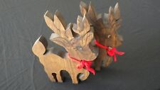 Vintage Wooden Christmas Reindeer Carved Hand Painted Deer Decorations Set of 2