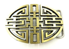 Traditional Chinese Lucky Knot Bronze Metal Belt Buckle