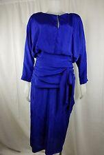 "80s Samuel Evans Vtg Woman bow formal dress elegant blue shiny dolman bust 17"""