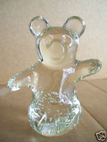 Clear Art Glass Cat Or Bear Animal Paperweight Figurine