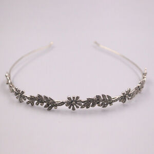 Pure S925 Sterling Silver Hair Band Women Gift  Flower Leaf Headband / 35g