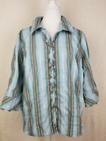 LANE BRYANT Blue striped  18-20 fancy buttons ruffle shirt blouse  3/4 sleeve