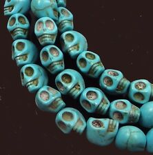 10mm Tiny Blue Turquoise Skull Beads Halloween (20)