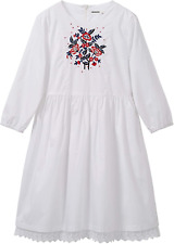 Solocote Girls White Dress Embroidery Cotton Kids Long Sleeve Casual Style Youth