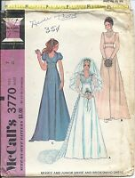 M 3770 sewing pattern 70's Wedding GOWN Bridesmaid DRESS sew junior size 7 UNCUT