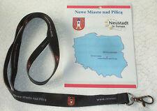 Schlüsselband aus POLEN: Nowe Miasto nad Pilica, in schwarz, 1,5 cm breit, NEU!