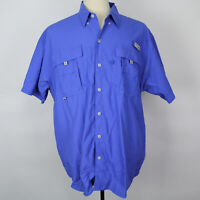 Columbia Performance Fishing Gear Solid Blue Button Short Sleeve Shirt Sz L EUC