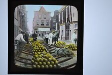 Dutch Colour Magic Lantern Slide Loaded Cheeses For Carrying Alkmaar Netherlands