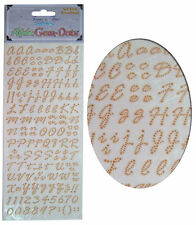 Card Making Stickers Sheet, Alphabet Letters & Numbers, Gem Embellishment - Gold