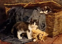 Oil painting julius adam - the playful kittens free shipping for worldwide art