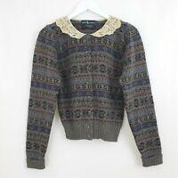 RALPH LAUREN sz Small VINTAGE 100% Wool Cardigan Sweater Lace Peter Pan Collar