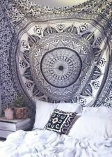 Lotus Blume Schwarz Mandala Twin Überwurf Wandbehang 100% Baumwolle Deko Tuch