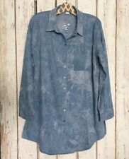 Small/Medium/Large New Denim Blue Cotton Chambray Shirt Dress Duster Top Blouse