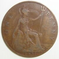 1921 GREAT BRITAIN UK 1 ONE PENNY GEORGE V WORLD COIN NICE!